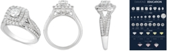 Macy's Diamond Elevated Halo Engagement Ring (1-1/2 ct. t.w.) in 14k White Gold