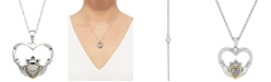 Macy's 14k Gold and Sterling Silver Necklace, Diamond Accent Claddagh Pendant