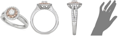 Macy's Diamond Two-Tone Sun Halo Engagement Ring (1 ct. t.w.) in 14k White and Rose Gold