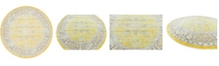 """Bridgeport Home Kenna Ken1 Yellow 5' 5"""" x 5' 5"""" Round Area Rug"""