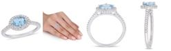 Macy's Aquamarine (5/8 ct.t.w.) and Diamond (1/4 ct.t.w.) Halo Ring in 10k White Gold