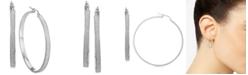 Macy's Glitter Hoop Earrings in Sterling Silver