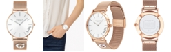 COACH Women's Perry Rose Gold-Tone Mesh Bracelet Watch 36mm