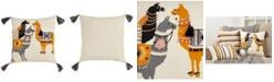 "Saro Lifestyle Llama Pack Print Throw Pillow, 18"" x 18"""
