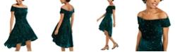 Morgan & Company Juniors' Velvet Sequined Off-The-Shoulder Dress