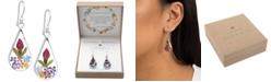 Giani Bernini Medium Teardrop Dried Flower Earrings in Sterling Silver. Available in Multi, Blue, Yellow or Purple