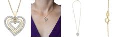 "Macy's Diamond Multi-Heart 18"" Pendant Necklace (1/2 ct. t.w.) in 10k Gold"