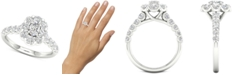 Macy's Diamond Oval Flower Halo Engagement Ring (1-3/8 ct. t.w.) in 14k White Gold