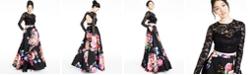 B Darlin Juniors' 2-Pc. Lace & Floral-Print Gown