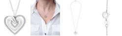 "Macy's Diamond Multi-Heart 18"" Pendant Necklace (1/10 ct. t.w.) in Sterling Silver"