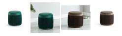 Furniture of America Mandy Flannelette Round Ottoman
