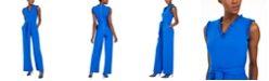 Calvin Klein Petite Belted Ruffle Jumpsuit
