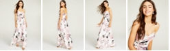 Trixxi Juniors' Ruched Floral-Print Gown