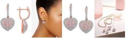 Macy's Natural Pink Certified Diamond Heart Drop Earrings (1-1/4 ct. t.w.) in 14k Rose Gold