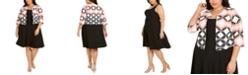 Robbie Bee Plus Size Geometric-Print Jacket & A-Line Dress