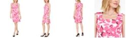 Kasper Brushstroke Floral Crepe Dress