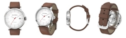 BLACKWELL Silver Tone Satin Dial with Silver Tone Steel and Brown Leather Watch 44 mm
