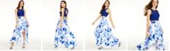 Sequin Hearts Juniors' 2-Pc. Lace Top & Floral-Print Skirt
