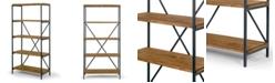 "Glamour Home Ailis 67"" Pine Wood Shelf Etagere Bookcase Media Center with Metal Frame"