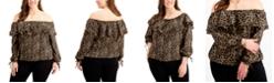Michael Kors Plus Size Animal Print Off-The-Shoulder Top