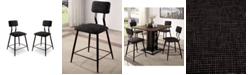 Furniture of America Locust 2 Piece Upholstered Counter Height Chairs Set