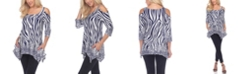 White Mark Women's Printed Cold Shoulder Tunic Top