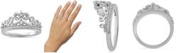 Enchanted Disney Fine Jewelry Enchanted Disney Fine Jewelry Diamond Cinderella Bow Tiara Ring (1/6 ct. t.w.) in Sterling Silver