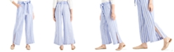 Indigo Rein Juniors' Striped Belted Wide-Leg Pants