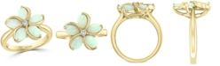 EFFY Collection EFFY® Opal (1-3/8 ct. t.w.) & Diamond (1/20 ct. t.w.) Flower Ring in 14k Gold