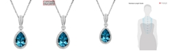 Macy's Blue Topaz (3 ct. t.w.) and Diamond (1/10 ct. t.w.) Teardrop Pear Pendant Necklace in 14k White Gold