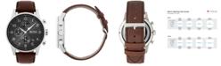 BOSS Hugo Boss Men's Chronograph Navigator Brown Leather Strap Watch 44mm 1513494