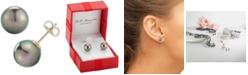 Macy's Black Cultured Tahitian Pearl (9mm) Stud Earrings in 14k Gold