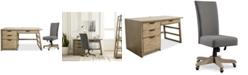 Furniture Ridgeway Home Office Furniture, 2-Pc. Set (Single Pedestal Desk & Upholstered Desk Chair)