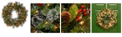 """National Tree Company 24"""" Wintry Pine Wreath with Cones, Red Berries, Snowflakes and 50 Clear Lights"""