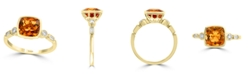 EFFY Collection EFFY® Citrine (1-3/4 ct. t.w.) & Diamond (1/6 ct. t.w.) Ring in 14k Gold