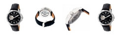 Heritor Automatic Bonavento Silver & Black Leather Watches 44mm