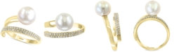 EFFY Collection EFFY® Cultured Freshwater Pearl (10mm) & Diamond (1/5 ct. t.w.) Wrap Ring in 14k Gold