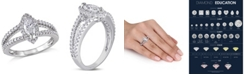 Macy's Certified Diamond (3/4 ct. t.w.) Marquise and Round-Shape Engagement Ring in 14k White Gold