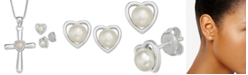 """Macy's Cultured Freshwater Pearl Cross 18"""" Pendant Necklace and Heart Stud Earrings Set in Sterling Silver"""