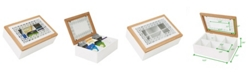 Mind Reader Tea Box Storage Holder with Glass Window Wood Pattern