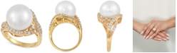 Macy's Cultured White Ming Pearl (13mm) & Cubic Zirconia Ring in 14k Gold-Plated Sterling Silver