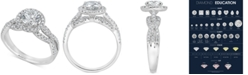 Macy's Diamond Halo Engagement Ring (1-1/2 ct. t.w.) in 14k White Gold
