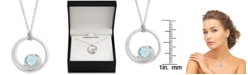 """Macy's Blue Topaz Wave 18"""" Pendant Necklace (1 ct. t.w.) in Sterling Silver"""