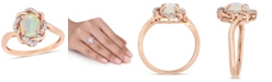 Delmar Blue Opal (3/4 ct.t.w.) and Diamond (1/10 ct.t.w.) Interlaced Halo Ring 10k Rose Gold