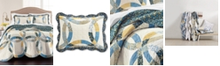 Martha Stewart Collection CLOSEOUT! Wedding Rings Blue Twin Quilt, Created for Macy's