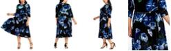 Calvin Klein Plus Size Floral-Print Velvet Dress