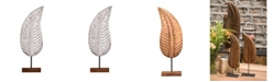 Villa2 Leaf Decorative Sculpture on Stand in Weathered Vintage-Inspired Finish