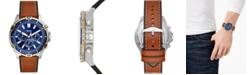 Fossil Men's Chronograph Garrett Brown Leather Strap Watch 44mm