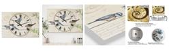 "Designart Birds Gathered On Wire Paris I Oversized Cottage 3 Panels Wall Clock - 38"" x 38"" x 1"""