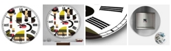 """Designart Circe Composition in Pink Green and Black I Large Mid-Century Wall Clock - 36"""" x 28"""" x 1"""""""